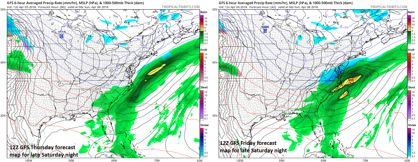 The trend over the past 24 hours (left, 12Z Thursday run;right, 12Z Friday run) in NOAA's GFS computer forecast model has been to slow down the second wave of low pressure and to expand its precipitation field to the north and west. If there is a bit more of this trend at the surface-level then the system could end up having a bigger impact on the I-95 corridor. Maps courtesy NOAA/EMC, tropicaltidbits.com