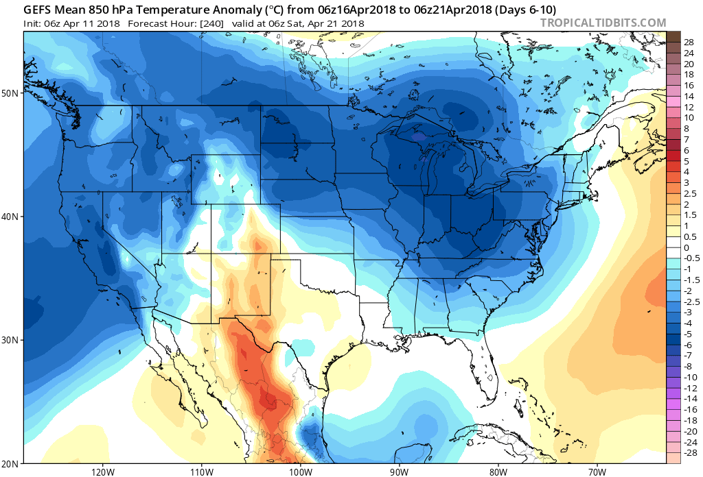 06Z GEFS forecast map of 850 mb temperature anomalies averaged over days 6-10 (April 16-21) with much of the eastern two-thirds of the nation back to below-normal conditions; map courtesy NOA/EMC, tropicaltidbits.com