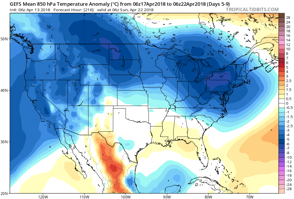 06Z GEFS forecast of 850 temperature anomalies averaged over a 5-day period (days 5-9, April 17-April 22) with colder-than-normal (blue) throughout the Mid-Atlantic region and Northeast US; map courtesy NOAA/EMC, tropicaltidbits.com
