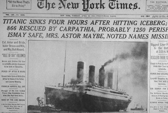 New York Times  headline on April 16th, 1912
