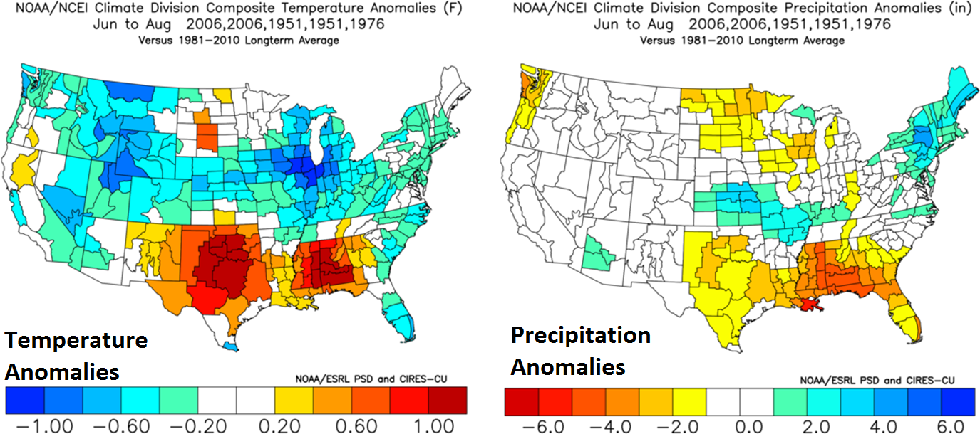 Analog year comparisons suggest near normal to slightly below-normal temperatures this summer in the Mid-Atlantic region and near normal to slightly above-normal precipitation amounts; courtesy NOAA
