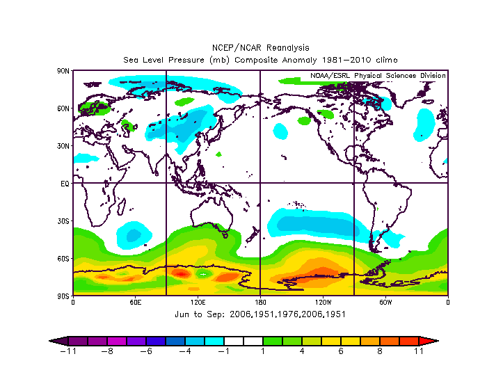 Sea level pressure anomaly in the June-to-September period of the analog years with nearly normal conditions in the Atlantic Basin; map courtesy NOAA