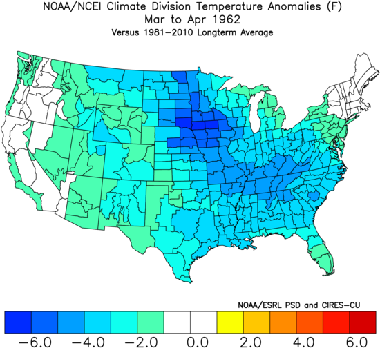 The latest first tornado ever in Oklahoma was on April 26, 1962 - this date is to be matched to day - and this was another year with colder-than-normal conditions across much of the nation during March and April; data courtesy NOAA