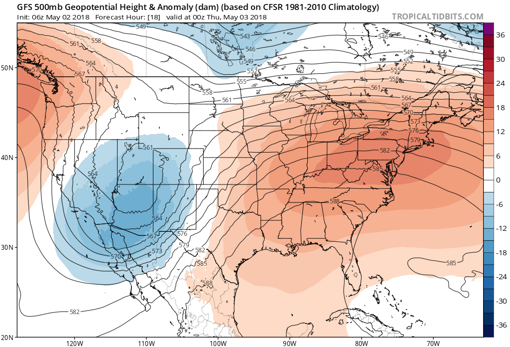 """06Z GFS forecast map for early tonight of 500 mb height anomalies with a """"clash"""" setting up in the center part of the nation between the cold upper-level low over the Southwest US and the strong high pressure ridging in the eastern US; map courtesy NOAA/EMC, tropicaltidbits.com"""