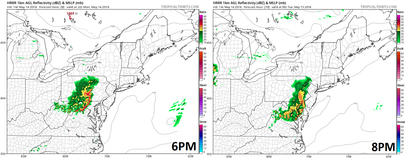 High-resolution forecast maps for Monday evening at 6pm (left) and 8pm (right); courtesy NOAA/EMC, tropicaltidbits.com