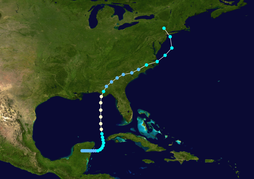 Track of Agnes from June 14th – June 23rd, 1972 (white circles indicate category 1 hurricane status); courtesy Wikipedia