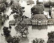 Floodwaters from Agnes surround the Governor's mansion in Harrisburg, PA