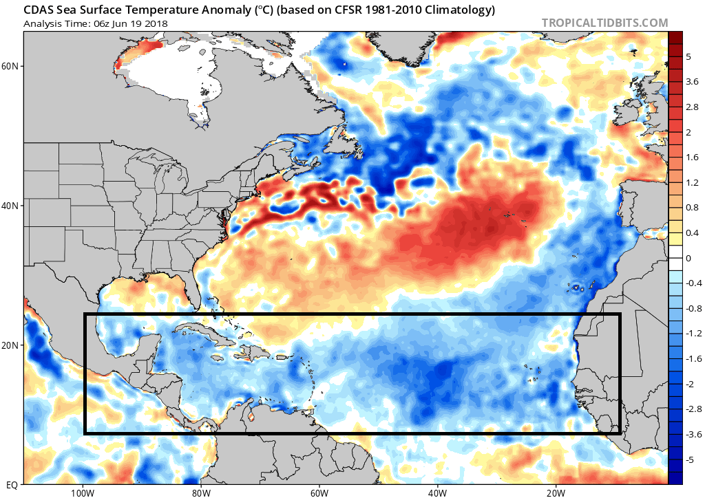 "Current sea surface temperature anomalies are shown for the North Atlantic Ocean with a widespread area of cooler-than-normal (blue) in the ""breeding grounds"" region of the tropical Atlantic (boxed-in area); courtesy NOAA, tropicaltidbits.com"