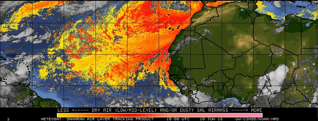 "Dry air originating over the Sahara Desert region of Africa extends westward in much of the same ""breeding grounds"" region of the tropical Atlantic that is currently experiencing cooler-than-normal water temperatures; courtesy University of Wisconsin/CIMSS, NOAA"