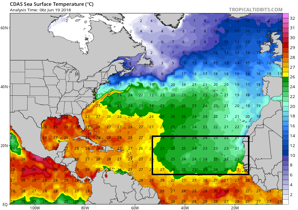 "Actual sea surface temperatures with much of the ""breeding grounds"" region below the threshold of 26 degrees C which is usually a requirement for tropical storm formation; courtesy NOAA, tropicaltidbits.com"