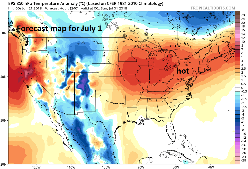 00Z Euro ensemble model forecast map of 850 mb temperature anomalies on July 1st; courtesy ECMWF, tropicaltidbits.com