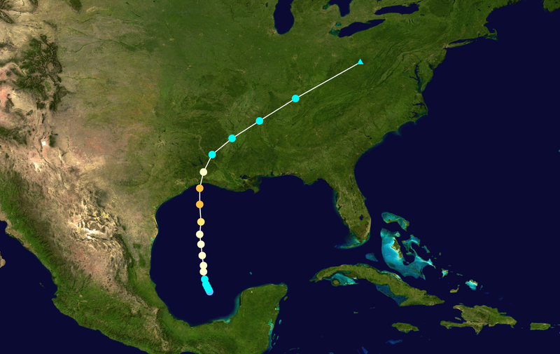 Track of Hurricane Audrey which formed on June 25th, 1957 and made landfall on June 27th, 1957; courtesy NOAA, Wikipedia