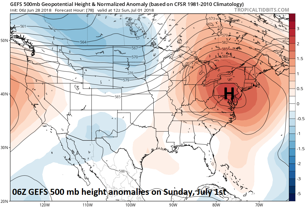 06Z GEFS forecast map of 500 mb height anomalies on Sunday, July 1st with abnormally strong high pressure ridging centered over the Northeast US; courtesy NOAA, tropicaltidbits.com
