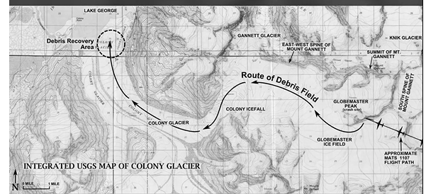 Colony Glacier relentlessly advances towards nearby Inner Lake George and has pushed the debris field several miles during the past 60 years (map courtesy USGS)