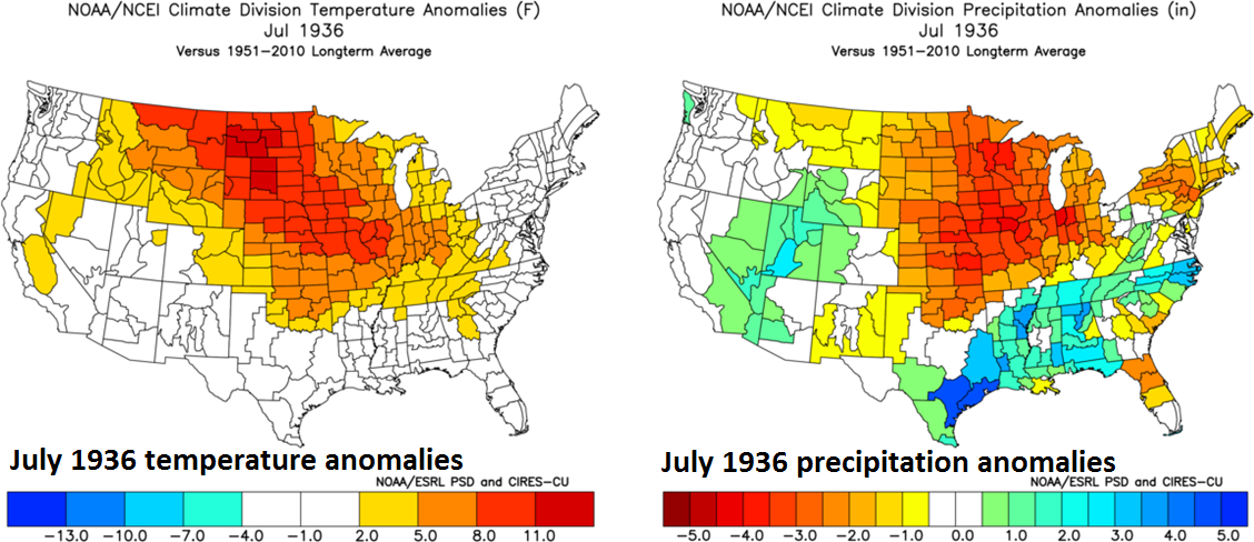 Extreme heat and drought in July 1936 was experienced in many of the same regions that experienced extreme cold earlier that same year; (July 1936 US temperature anomalies left, July 1936 US precipitation anomalies right,courtesy NOAA)