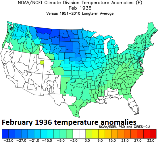 Extreme cold in February 1936 was experienced in many of the same regions that experienced extreme heat later that same year; (February 1936 temperature anomalies across the US, courtesy NOAA)