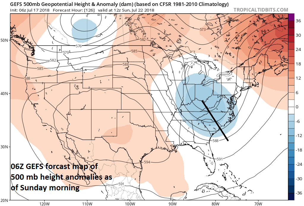 An unusually strong summertime upper-level trough will form this weekend over the Midwest and bring the I-95 corridor unsettled weather conditions; courtesy NOAA, tropicaltidbits.com