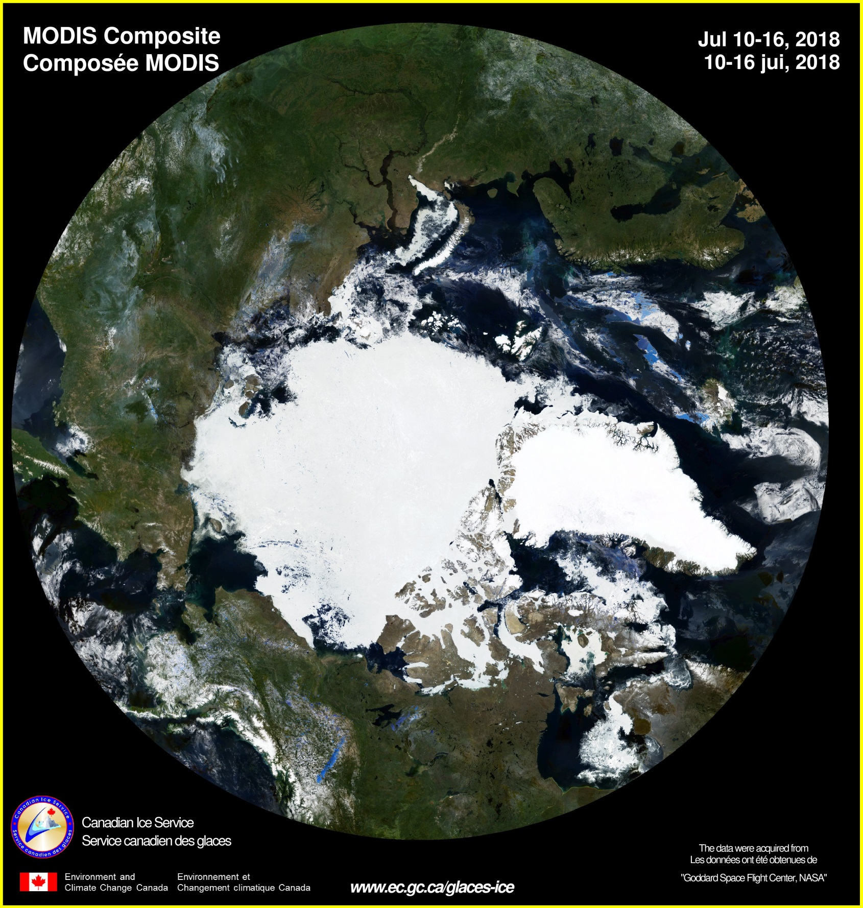 This MODIS composite map of Arctic Ocean snow/ice is for the week July 10-16, 2018 (courtesy Canadian Ice Service, NASA). The ice information is updated daily in areas of known marine activity and weekly in remaining Canadian waters.