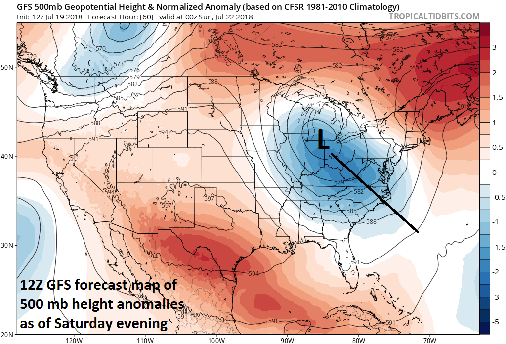 An unusually deep upper-level trough for July will form over the Ohio Valley this weekend and become a major player in the unfolding very wet pattern; courtesy NOAA/EMC, tropicaltidbits.com