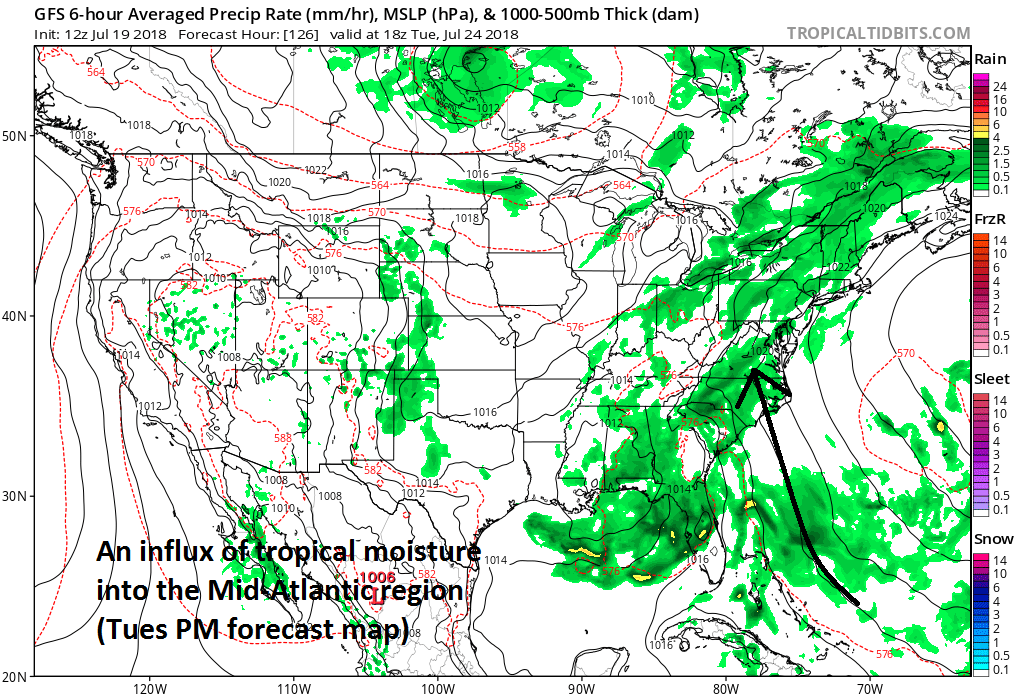 Even after the initial coastal storm passes by, the wet pattern will persist with a consistent flow of air from the tropical Atlantic into the Mid-Atlantic region (12Z GFS surface forecast map for early Tuesday afternoon, courtesy NOAA/EMC, tropicaltidbits.com)