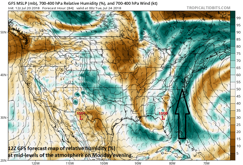 Deep tropical moisture will be flowing northward next week from the tropical Atlantic to the Mid-Atlantic (12Z GFS forecast map of RH (%) on Monday evening); courtesy NOAA/EMC, tropicaltidbits.com
