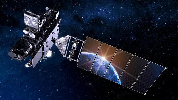 Artist rendering of GOES-17 in orbit (credit NOAA)