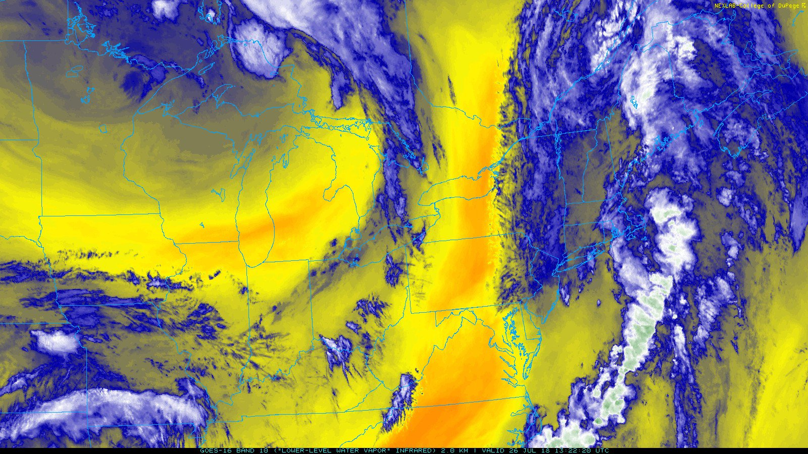 Sample product from GOES-16 with an image of the current low-level water vapor in the Northeast US (ABI band #10) Credit NOAA, College of DuPage  Band Type: Infrared Spatial Resolution: 2km Approximate Central Wavelength: 7.3 μm Temporal Usage: Night and Day  ABI 10 is the last of three water vapor bands available from GOES-R Series satellites. It has similar applications to the Mid-Level Water Vapor band but can add further clarity to jet-streaks and shortwave features embedded within large scale atmospheric flow patterns. It also has been proven to be useful in identifying/tracking volcanic plumes. Additionally, in combination with the other two water vapor bands, this data can be ingested by numerical weather models to improve forecasts by better approximating initial conditions of the atmosphere at large scales.