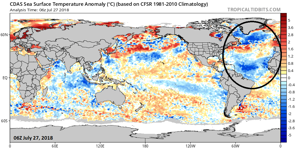Sea surface temperatures have dropped considerably in recent months relative to normal across much of the North Atlantic (circled region). It is still a bit early to conclude that this dramatic cool down is the beginning of a long-term cold (negative) phase – stay tuned. Credit:NOAA,  tropicaltidbits.com