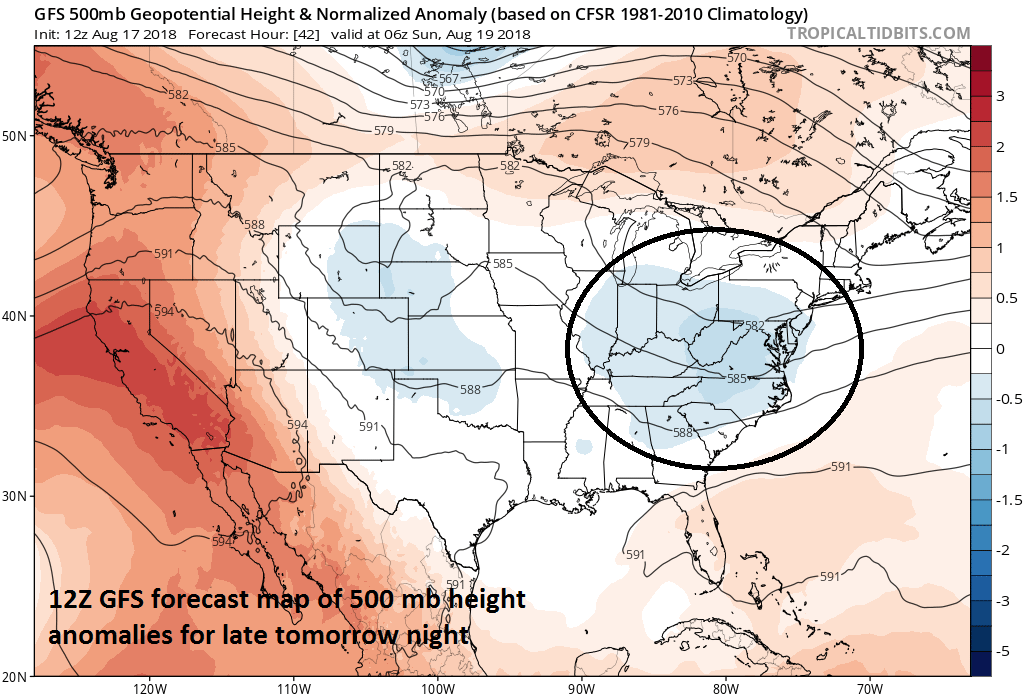 Shower and thunderstorm threat through the weekend in the Northeast US/Mid-Atlantic aided by strong upper-level energy (circled region). Credit NOAA, tropicaltidbits.com