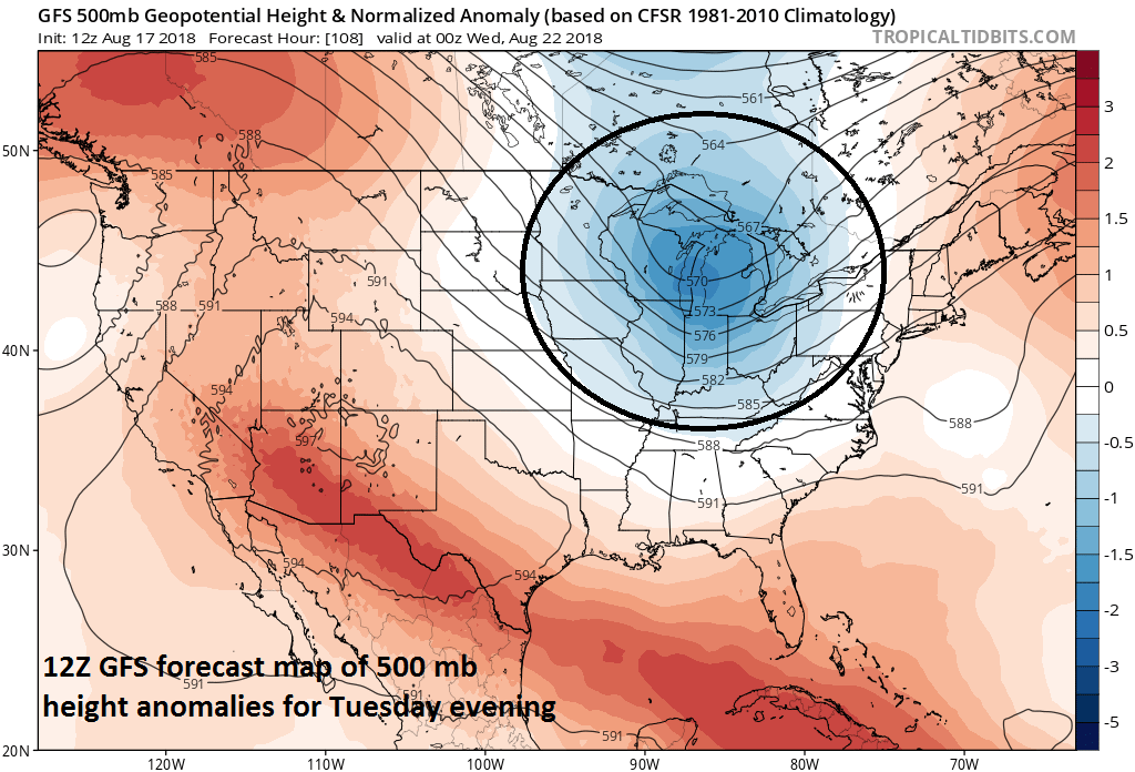 Shower and thunderstorm threat late Tuesday into Wednesday in the Northeast US/Mid-Atlantic aided by another piece of strong upper-level energy (circled region). Credit NOAA, tropicaltidbits.com
