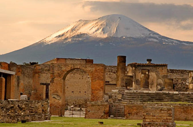Modern-day Pompeii with Mount Vesuvius in the background