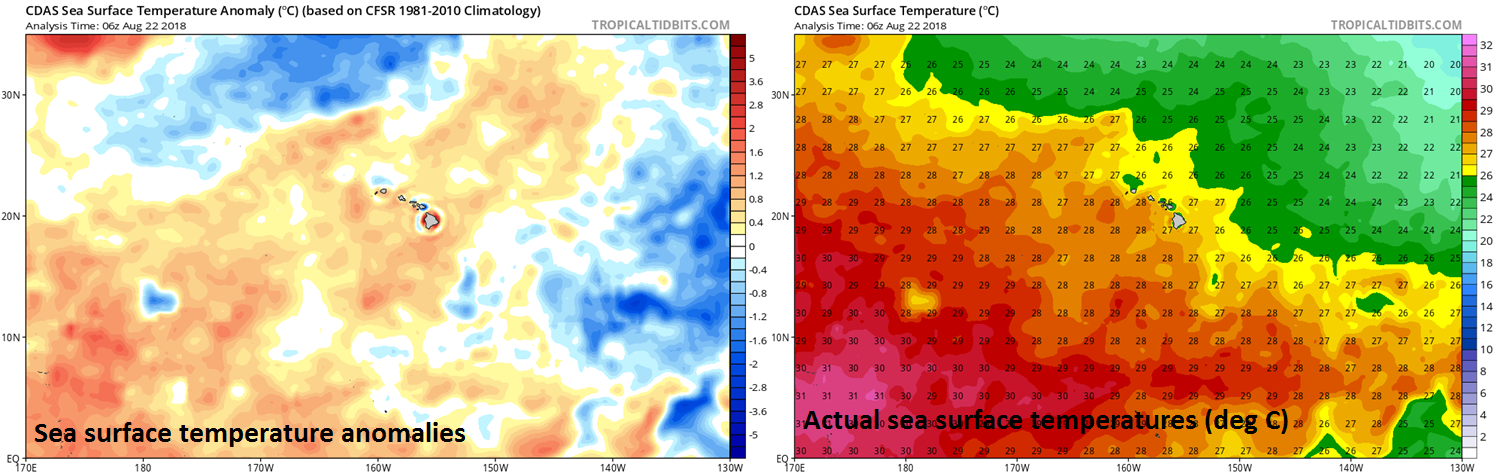 If - as I expect - Hurricane Lane weakens in coming days, it won't be because of water temperatures as they are sufficiently warm for maintaining storm intensity, but rather it will likely take place due to increasing wind shear. Courtesy NOAA, tropicaltidbits.com