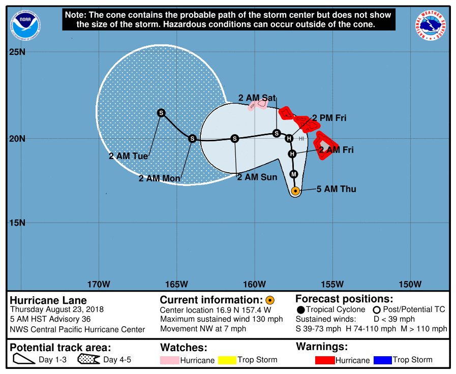 Latest official storm track prediction with general movement to the north as a hurricane and then the west as a tropical storm; courtesy NOAA