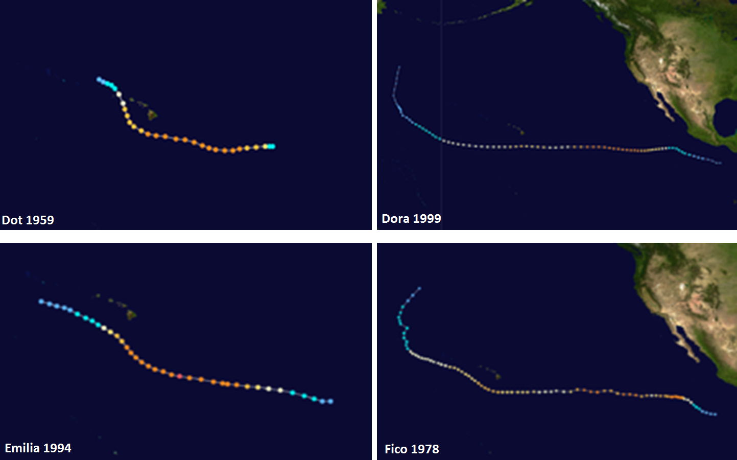 Four major hurricanes in the recent past that took a track within 100 miles of the current positioning of Hurricane Lane; maps courtesy wikipedia, information from Philip Klotzbach (Colorado State University)