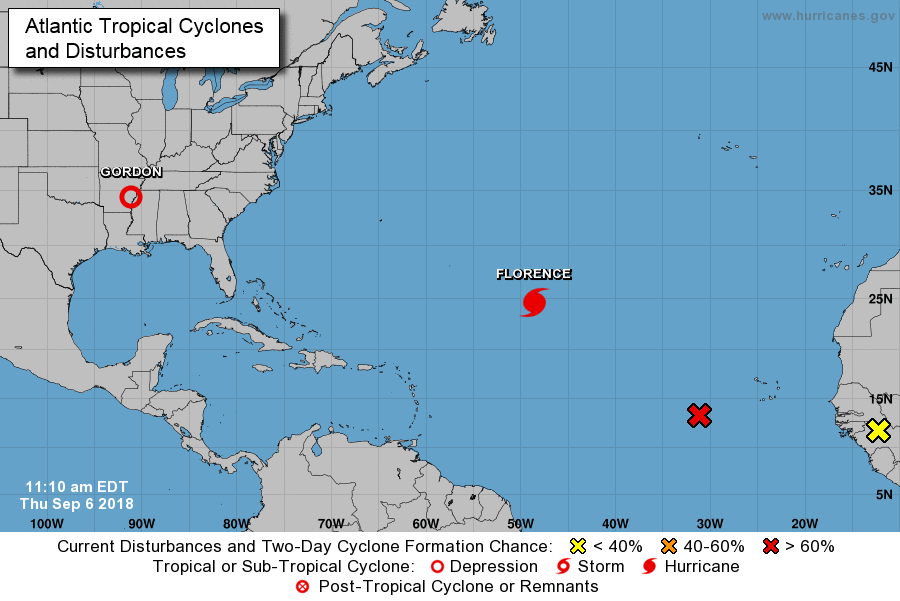 11AM position of Atlantic Basin tropical systems with Tropical Depression Gordon located over the south-central US, Hurricane Florence over the central Atlantic, and a third system in the eastern Atlantic; courtesy NOAA/NHC