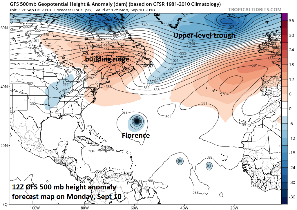 12Z GFS 500 mb height anomaly forecast map for Monday, September 10th, with a deep upper-level trough passing by to the north of Florence; courtesy NOAA/EMC, tropicaltidbits.com