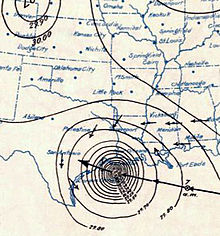 Surface weather analysis of the Galveston hurricane on September 8, 1900 just before landfall.