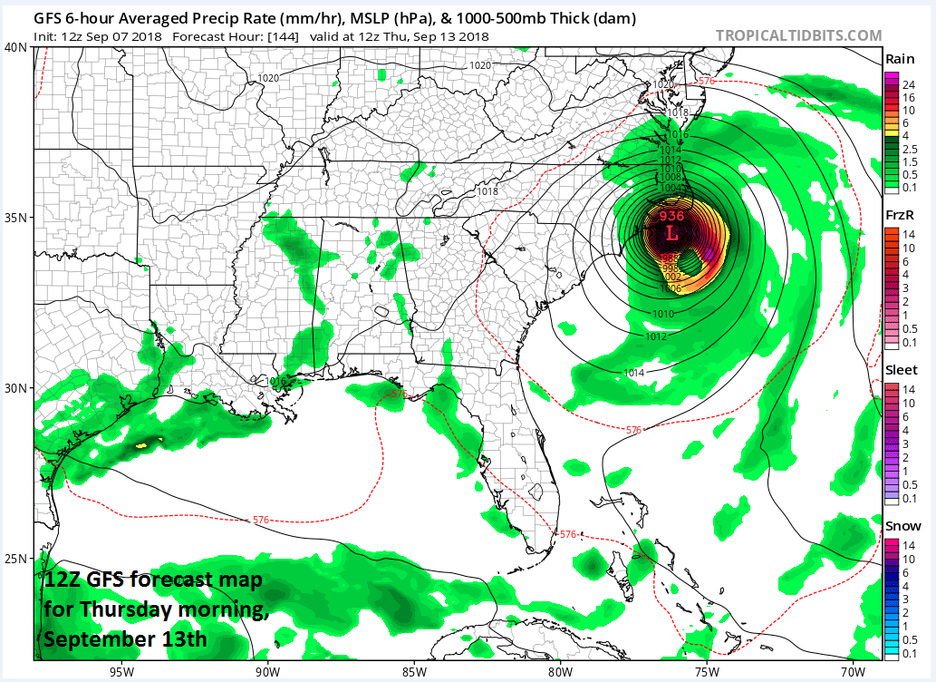 12Z GFS surface forecast map for Thursday morning, September 13th; courtesy NOAA/EMC, tropicaltidbits.com
