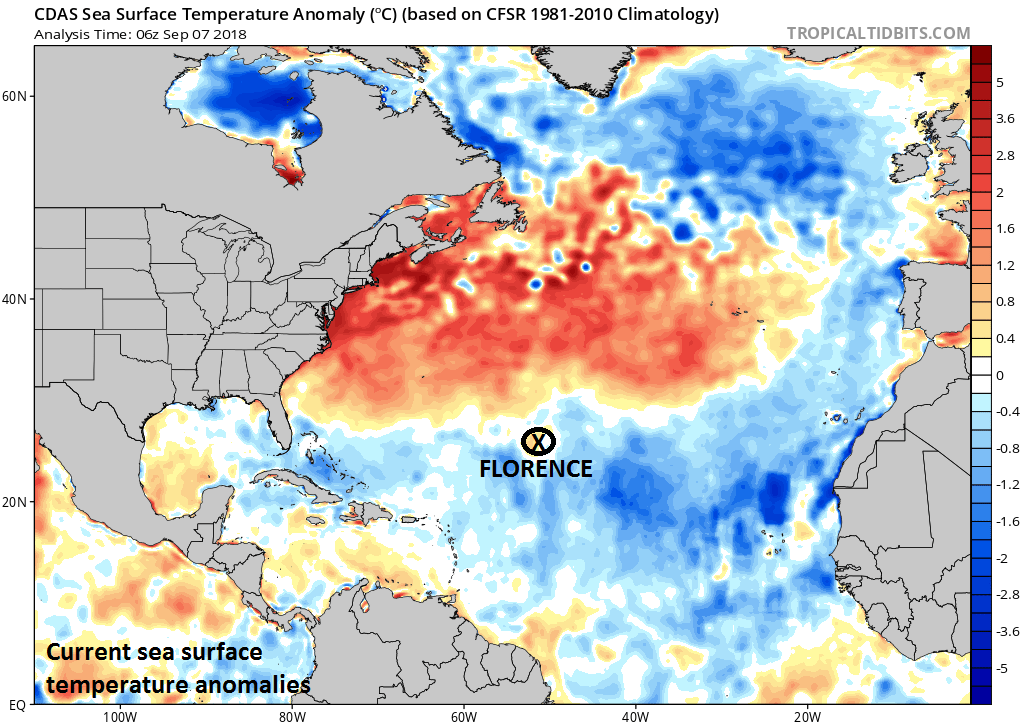 Warmer-than-normal water in the Atlantic will favor intensification of Florence in coming days and play a role in the development of a strong ridge of high pressure across southeastern Canada and the northwest Atlantic; courtesy NOAA, tropicaltidbits.com
