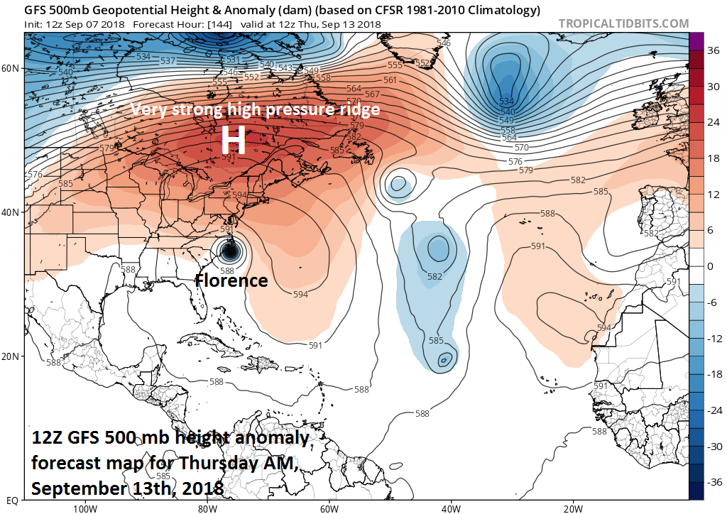 The key player in the upper atmosphere in terms of the movement of Florence will be the anomalously strong high pressure ridge that sets up to the north early next week; courtesy NOAA/EMC, tropicaltidbits.com