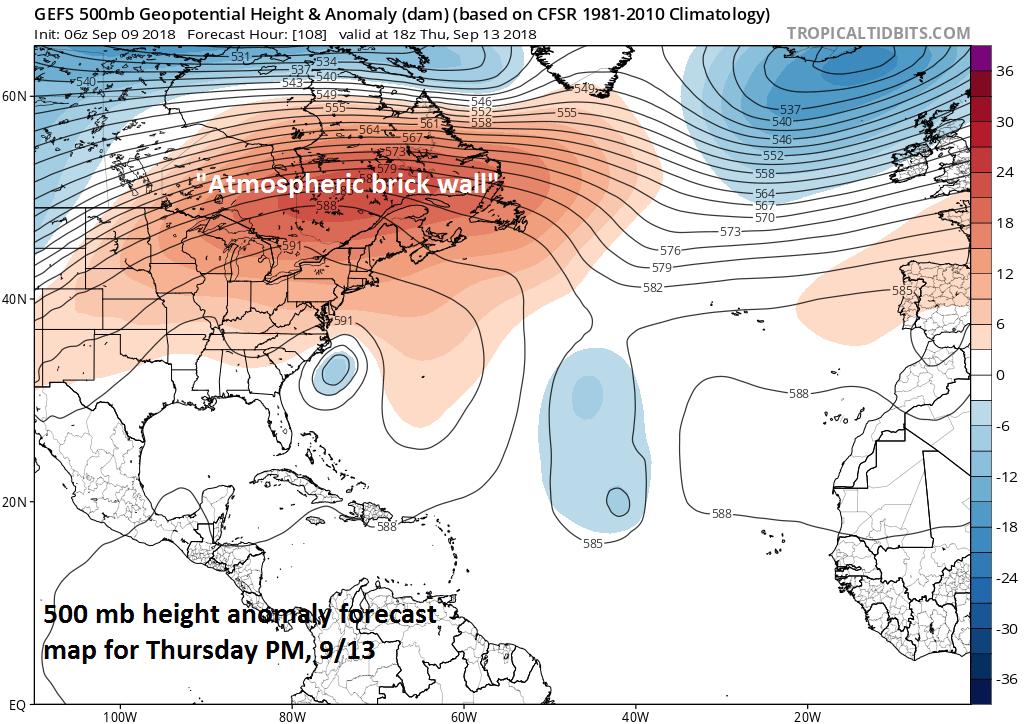 """Very strong high pressure ridging will act as an """"atmospheric brick wall"""" and slow down the northward progress of Hurricane Florence; courtesy NOAA, tropicaltidbits.com"""