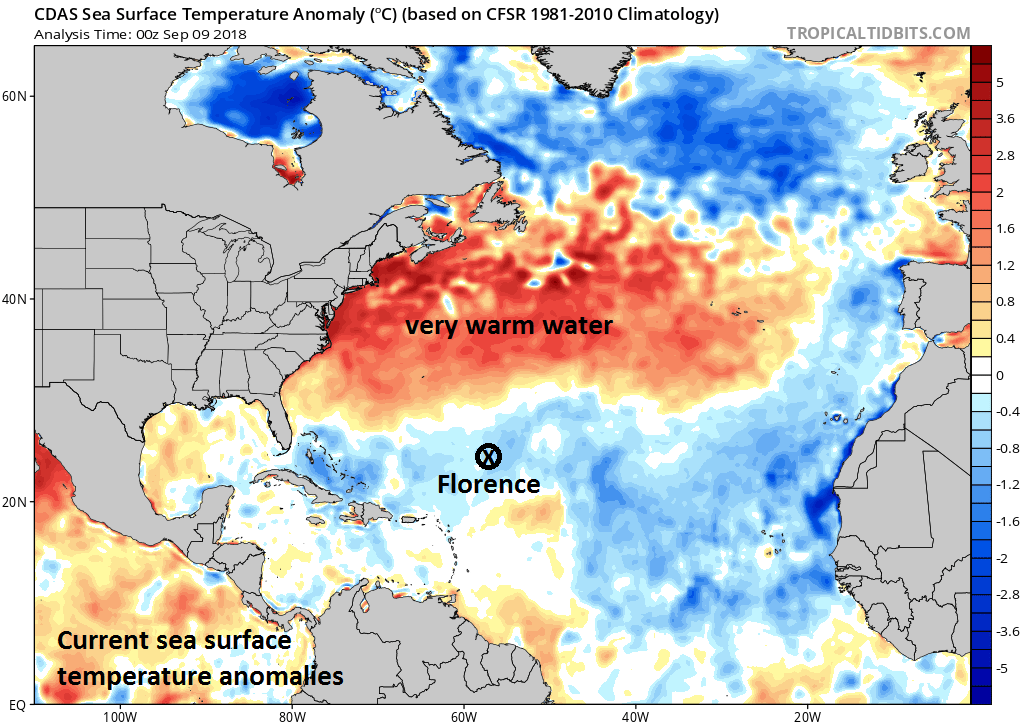 As Hurricane Florence closes in on the US east coast, it will move over very warm water for this time of year (above-normal water temperatures shown in orange) and this will aid in its rapid intensification over the next few days; courtesy NOAA, tropicaltidbits.com