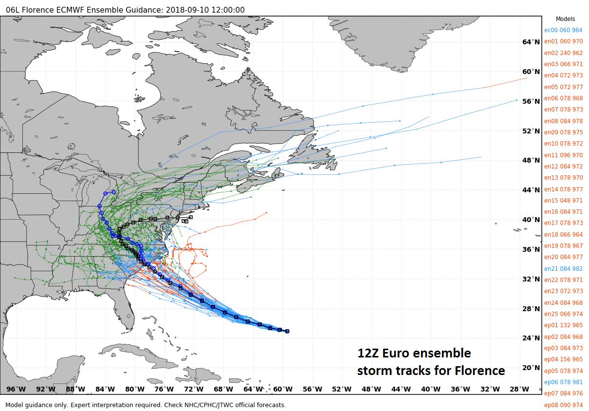 "12Z Euro model ""spread"" of storm tracks for Hurricane Florence; courtesy weathermodels.com, ECMWF"
