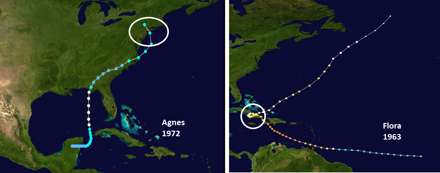 Track of Hurricane/Tropical Storm Agnes (1972, left) and Hurricane Flora (1963, right)…both of these tropical systems stalled-out during their lifetime and generated flooding rainfall in given regions; courtesy NOAA, wikipedia