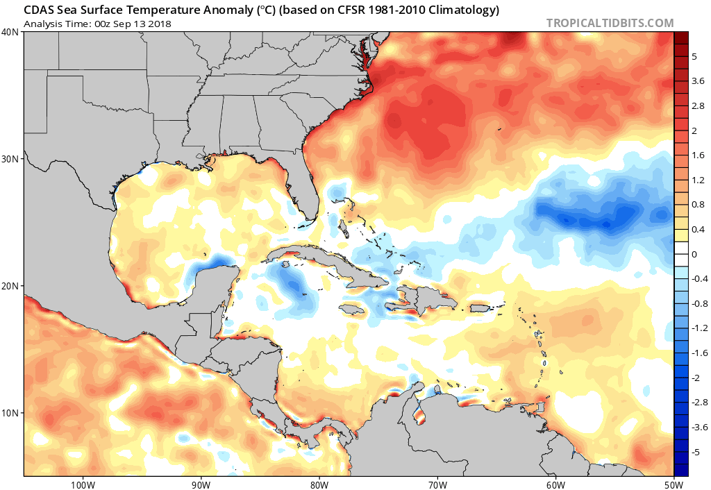 Current sea surface temperature anomalies with very warm water just off the coast; courtesy NOAA, tropicaltidbits.com