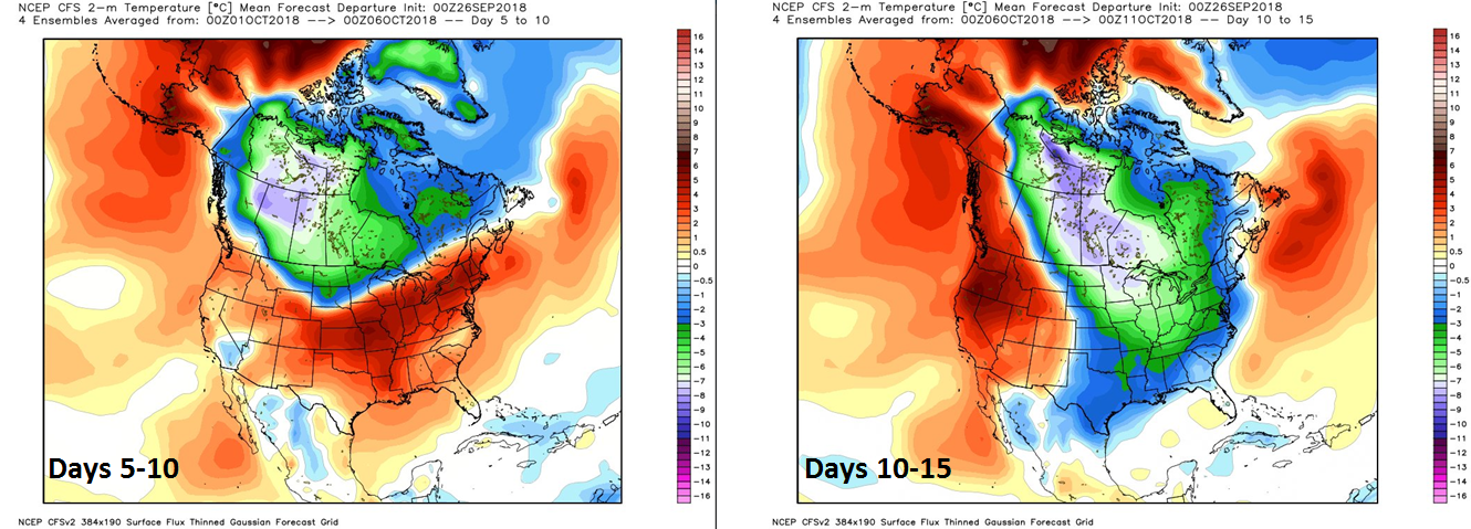 NOAA's CFS forecast maps of 2-meter temperature anomalies feature colder-than-normal conditions across Canada during days 5-10 and then in the central and eastern US by days 10-15; maps courtesy NOAA, Weather Bell Analytics
