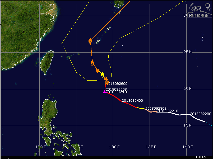 Typhoon Trami will head towards Japan in coming days; courtesy Wisconsin/CIMMS