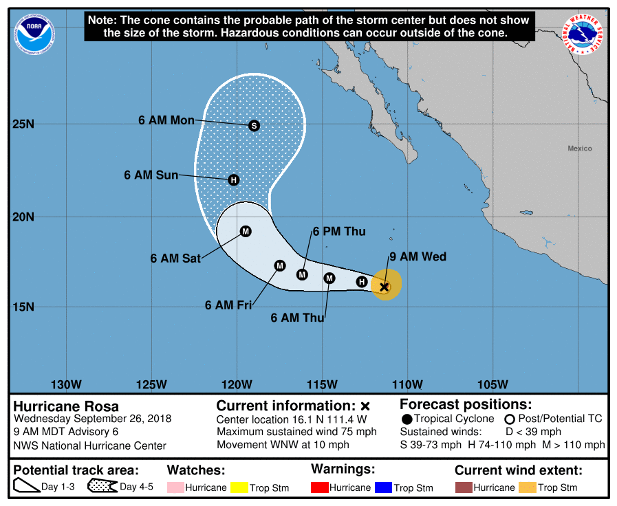 Hurricane Rosa may eventually have an impact in the Southwest US including perhaps southern California; courtesy NOAA