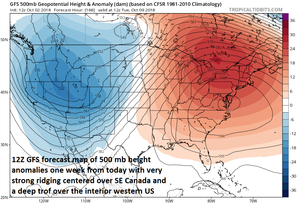 12Z GFS forecast map of 500 mb height anomalies for Tuesday morning, October 9th; courtesy NOAA/EMC, tropicaltidbits.com