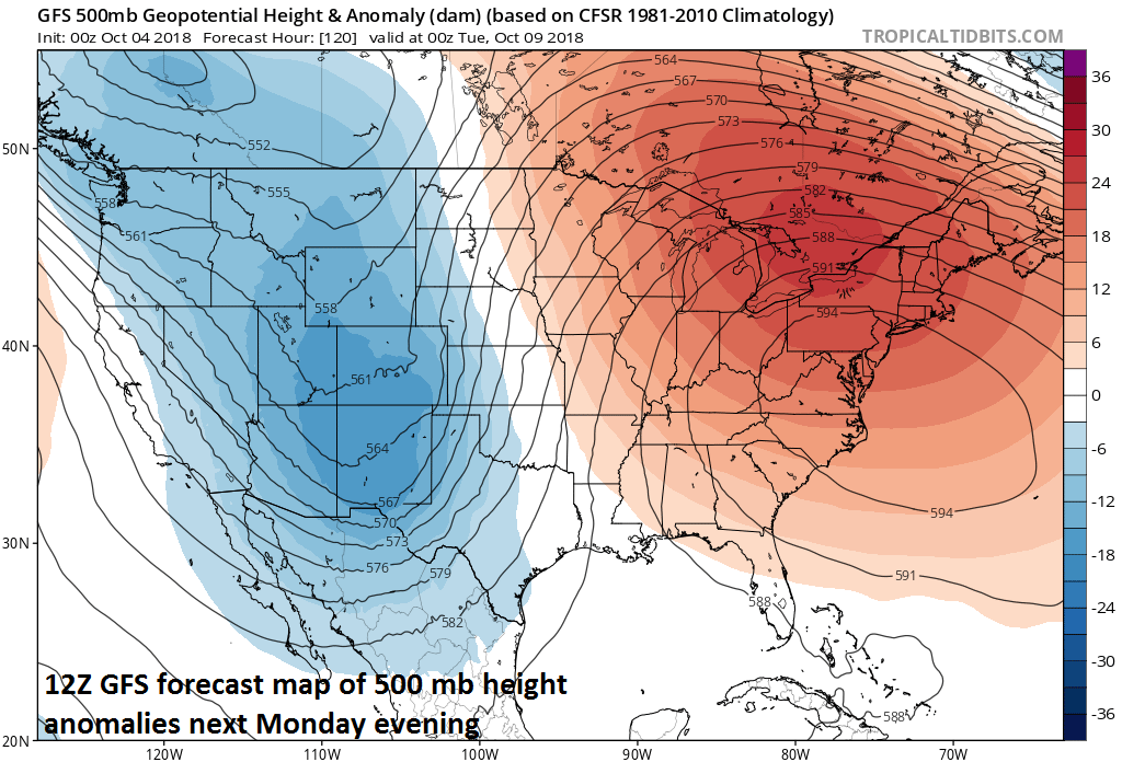 Upper-level high pressure ridging dominates next week in the eastern US at the same time a deep upper-level trough sets up in the interior western US; courtesy NOAA, tropicaltidbits.com